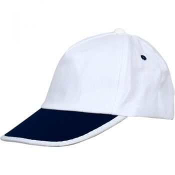 - 0110-06 Beyaz Şapka - Lacivert Biyeli