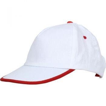 - 0140 Beyaz - Beyaz Biyeli, Kırmızı Siperli Şapka